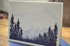 Mountains meadow and forest  threecolor by PaperInkPress on Etsy, $6.00