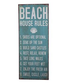 'Beach House Rules' Wall Sign