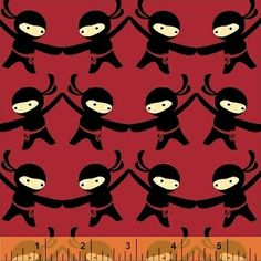 A quirky cotton fabric for boys featuring Ninja Warriors!