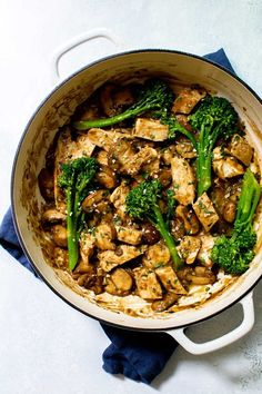 This cozy one pan mushroom chicken with broccolini is easy enough to make on a weeknight but tastes like you cooked all day. Pop over to my site for the recipe! | dinner ideas | healthy dinner recipes | chicken recipes | fall recipes | #chickenrecipe #chicken #broccolini #onepan #onepot #comfortfood #dinner #cooking #recipes