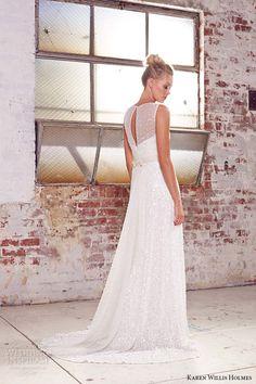 kwh by karen willis holmes 2015 bridal illusion jewel neckline sleeveless beaded crystals sheath wedding dress poppy back view