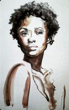 Natural Black Woman ORIGINAL by VitoArt