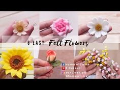 6 EASY FELT FLOWERS, SMALL FELT FLOWER TUTORIAL - S Nuraeni - YouTube Felt Flower Tutorial, Felt Cake, Felt Flowers, Hello Everyone, Home Art, Easy, How To Make, Crafts, Felting