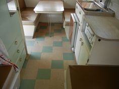 love this original vintage caravan lino floor tile