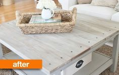 "Before & After: ""Barnwood"" Coffee Table IKEA Hack — just add wood planks to top of table"