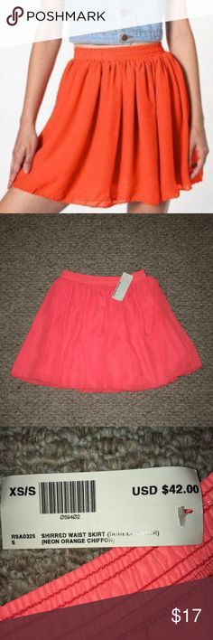 """FLASH SALE 😍NWT American Apparel Chiffon Skirt NWT!!! Size XS/S ➡️ -Elasticized shirred waist ➡️ Double layer chiffon ➡️Approx. 16.5"""" length ➡️ Color is Neon Orange➡️ These are sold out everywhere American Apparel Skirts Mini"""