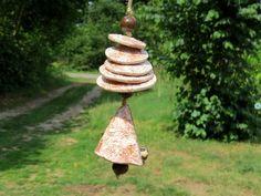 Keramik+Garten+Windspiel+Glocke+weiß+braun+von+gedemuck+auf+DaWanda.com
