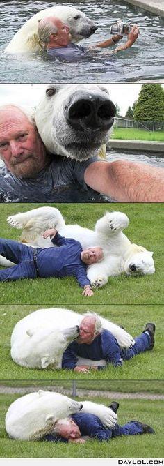 A man and his polar bear