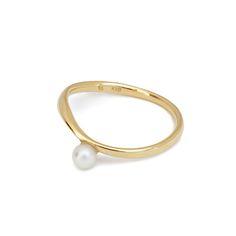 little emblem gold ring akoya pearl LE-AR125 #littleemblem #ring #gold #akoyapearl #ruby #em #emgrp