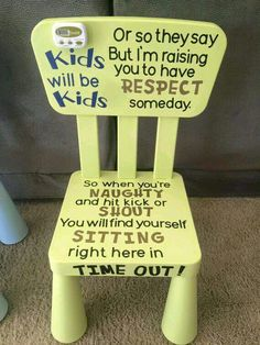 vinyl lettering for kids time out chair.  Order yours at Boardman Printing