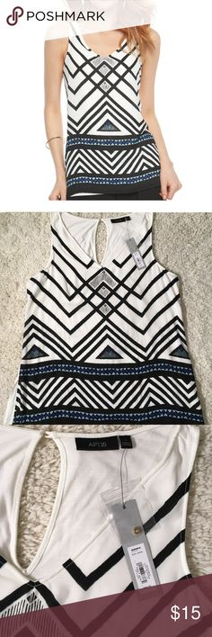 Apt. 9 Women's Geometric Print Tank Perfect for casual and professional looks. NWT Size Large PRODUCT FEATURES •Bold geometric print •V-neck •Back button closure with keyhole accent •Soft jersey construction FABRIC & CARE •Rayon, spandex •Machine wash  Smoke free, pet free home Apt. 9 Tops Blouses