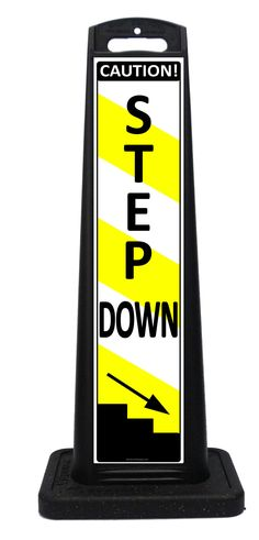 Portable STEP DOWN caution sign lets customers know there is a curb or step down ahead. These all weather portable signs feature STEP DOWN on one side and STEP UP on the opposite side. Portable Signs, Sidewalk Signs, A Frame Signs, Custom Labels, Weather, Sandwich Boards, Weather Crafts