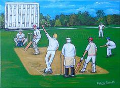 "Village Cricket 2 (Commission) Acrylic on 9"" x 12"" canvas"