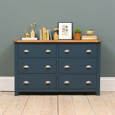 Westcote Blue 6 Drawer Wide Chest - The Cotswold Company - Chest of drawers Chest Of Drawers Upcycle, Chest Of Drawers Decor, Chest Of Drawers Makeover, Blue Drawers, Bedroom Drawers, Painted Drawers, Pine Furniture, Upcycled Furniture, Furniture Makeover