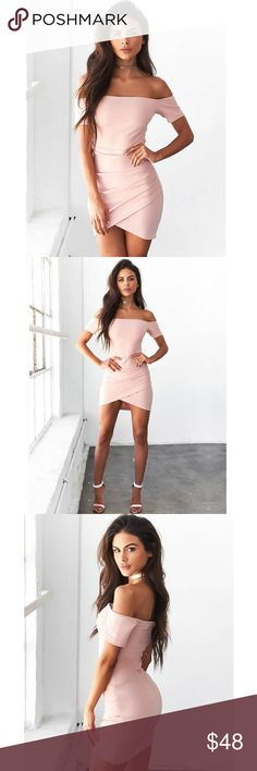 """New! Blush Pink Off The Shoulder Dress NWT boutique item. So gorgeous, super flattering!This dress comes in blush pink and features an above the knee silhouette, short sleeves, off the Shoulder silhouette, exposed zipper up the back, rouging at the hip, and a bodycon fit. SML Fits 2-4, Length 27"""". MED Fits 6-8 *Side NOTE: I'm a 32C, 26"""" waist, and 36"""" hips and this fits me nicely and it not super tight. I normally wear a size 2 dress. Material: Poly Color(s): Blush,Handwash,Imported Dresses…"""