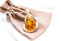 Orange Amber Necklace, Large Amber Silver Pendant Necklace, Large Stone Necklace, Natural pendant, Sterling Silver Baltic Amber pendant, by BalticBeauty925 on Etsy