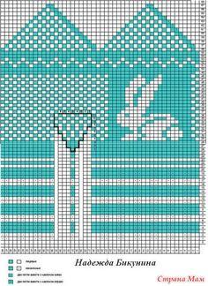 Варежки с зайчиками на 4-5 лет. Схема расчетов