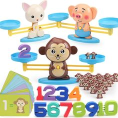 1 Set Balance Scale Toy with 12Pcs Bear Weights for Children Math Developing