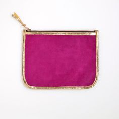 Necessaire- Fuchsia & Gold by Shawn Burke Makeup Case, Leather Clutch, Gold Clutch, Soft Suede, My Bags, Things To Buy, Handbag Accessories, Zip Around Wallet, Pouch