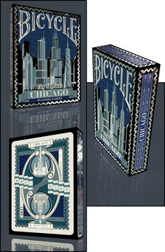 """Bicycle Limited Edition City Skylines """"Chicago"""" by Mike Guistolise — Kickstarter Bicycle Deck, Weeks In A Year, City Skylines, Cartomancy, Coincidences, Deck Of Cards, Tarot Cards, Chicago, The Incredibles"""