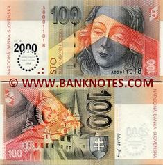 Slovakia banknote - one of the series of notes first issued upon the separation The Czech Republic from Slovakia. I like the colour contrast V's. Money Notes, Foreign Coins, Notes Design, World Coins, European History, Colour Contrast, Banknote, Bratislava, Czech Republic