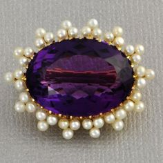 Victorian Amethyst and Seed Pearl Brooch | Perry's Fine Antique & Estate Jewelry