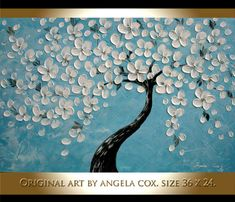 This listing is for Original White Flowers Tree Blue Fine Art Acrylic Impasto Palette Knife Painting. This listing is for a MADE TO ORDER ORIGINAL painting of a previously sold one, seen in the images above. Your painting will be the same size, and VERY SIMILAR composition/colors. Will