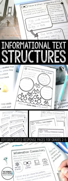 	Help students understand informational text structures, like Compare & Contrast, Cause & Effect, Sequence, and Main Idea & Details, with these handy reading response pages, designed in an engaging notebook format. Differentiated at three levels. Also includes pages on text features, locating important facts, summarizing & synthesizing, vocabulary, research, and more! (Gr 2-5) $