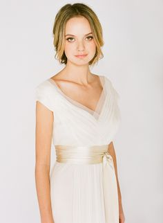 Elegant Alternative Wedding Dress with its cap sleeves and a sheer v-neck make this silk chiffon wedding dress effortless and chic. This style will complement any body shape, making it one of the most popular styles from the Saja Wedding Collection. Ethereal Wedding Dress, Outdoor Wedding Dress, Wedding Dress Sizes, Used Wedding Dresses, Elegant Wedding, Bride Dresses, Bridal Gowns, Wedding Gowns, Wedding Hair