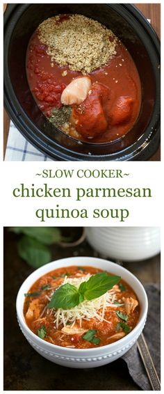 10 mins prep Crockpot Quinoa Chicken Parmesan Soup I via chelseasmessyapron.com I this was good! Used a fancy quinoa mix and it was delish!