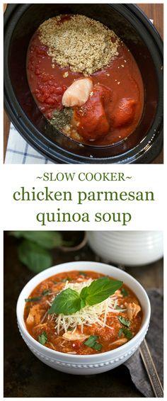 10 mins prep Crockpot Quinoa Chicken Parmesan Soup I via chelseasmessyapron.com I this was good! Used a fancy quinoa mix and it was delish!