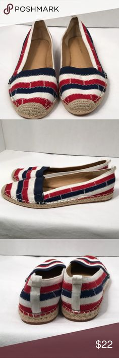 Adrienne Vittadini Espadrilles Size 8 Adrienne Vittadini Espadrilles  Size 8 Red, white and blue perfect for the summer and the Fourth of July  Style AV-ALE  C273 No trades Smoke-free pet free home Thank you for stopping by! Please check out the rest of my closet. ❤️🐟 Adrienne Vittadini Shoes Espadrilles