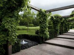 Structural hedges, evergreen plants and Wisteria covering an airy pergola.Garden in Amerongen. By Wolterinck Design Unique Gardens, Beautiful Gardens, Modern Gardens, Landscape Architecture, Landscape Design, Landscape Structure, Porches, Dutch Gardens, Contemporary Garden Design