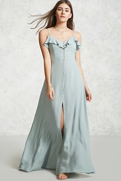 Style Deals - A woven maxi dress featuring a front button-up closure with a V-neckline and flounce overlay, a scooped open back, and adjustable cami straps. Casual Summer Dresses, Trendy Dresses, Fashion Dresses, Dress Casual, Button Up Maxi Dress, Dress Up, Dress Long, Wrap Dress, Satin Dresses