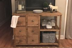 Free and easy DIY plans showing you how to build a buffet table with six small drawers and shelves for plenty of storage.