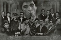 Gangsters Collage Godfather Goodfellas Scarface Sopranos Movie/TV Poster Print