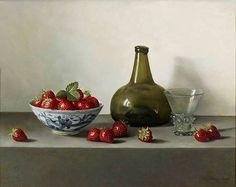 Roy Barley (b.1935) — Onion Bottle with Chinese bowl, Strawberries and Glass,2008 (600x470)