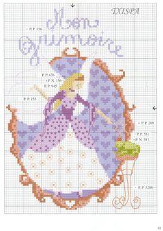 0 point de croix femme et grimoire - cross stitch girl and book of magic spells