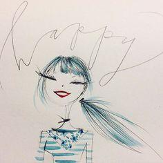 WEBSTA @ annekeenanhiggins - Definitely one of my better weeks. Cute Illustration, Watercolor Illustration, Drawing Projects, Girl Sketch, Fashion Design Drawings, Whimsical Art, Art Sketchbook, Face Art, Watercolor Print