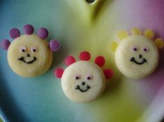 Babybel Tombliboos (in the night garden) Could easily make with cupcakes with white icing and smarties.....
