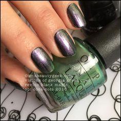 OPI Visions of Georgia Green over Revlon Black Magic Nails 2015, Nail Colors, Colours, Black Magic, Revlon, Opi, You Nailed It, Coca Cola, Swatch