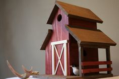 Large decorative bird house rustic barn outdoor and by pluszranch, $85.00