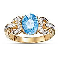 Heart To Heart Blue Topaz And Diamond Ring