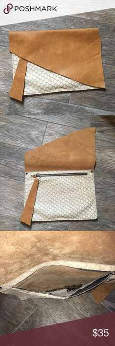 Custom Leather and Calf Hair clutch Custom clutch from Etsy. Used one time and in perfect condition. Comes with a removable shoulder length brass chain. handmade Bags Clutches & Wristlets