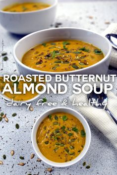 Easy to make creamy roasted butternut squash and almond soup. Perfect for a cold winter's day to warm you up. Vegan, healthy & dairy free. via @nestandglow