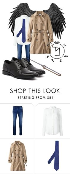"""Castiel"" by mdenault ❤ liked on Polyvore featuring True Religion, Moschino, Uniqlo, Tonello, Julius Marlow, men's fashion and menswear"