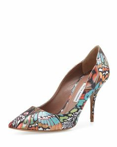 Dela Butterfly-Print Satin Pump by Tabitha Simmons at Neiman Marcus.