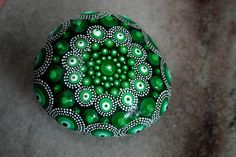 Green Faberge Egg Aboriginal Dot Art Beach Rock, Mandala Design, Painted Rock Home Accent I love Faberge Eggs, so I tried to recreate the look and beauty of them here. Perfect decor for your mantel or shelf, and the gold brass gilded stand comes with it for free to make the