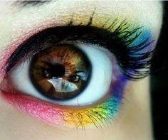 rainbow eye makeup... ^^cute