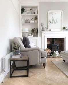 Pin by jess duxbury on * l i v i n g r o o m * in 2019 living room shelves, Victorian Living Room, Cottage Living Rooms, Living Room Shelves, New Living Room, Living Room Interior, Home And Living, Log Burner Living Room, Living Room Wood Floor, Sitting Room Decor